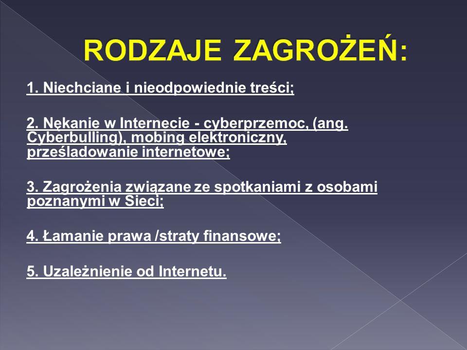 1. Niechciane i nieodpowiednie treści; 2. Nękanie w Internecie - cyberprzemoc, (ang. Cyberbulling), mobing elektroniczny, prześladowanie internetowe;
