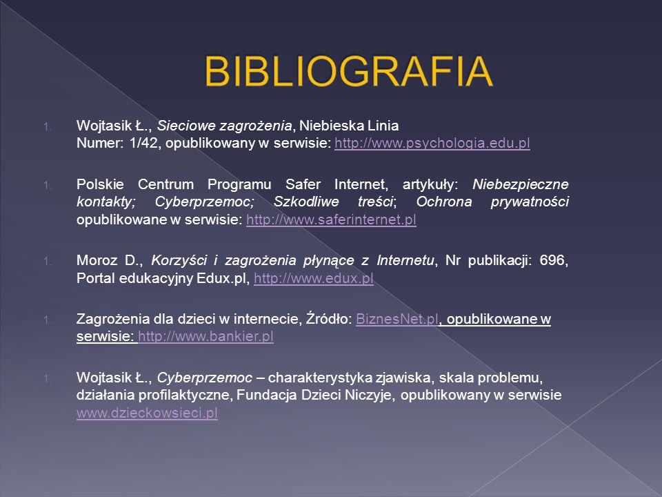 1. Wojtasik Ł., Sieciowe zagrożenia, Niebieska Linia Numer: 1/42, opublikowany w serwisie: http://www.psychologia.edu.plhttp://www.psychologia.edu.pl