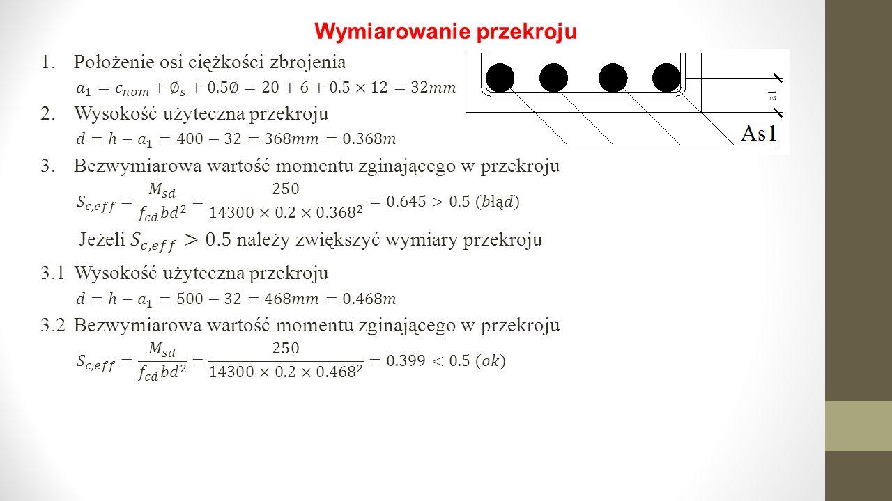 Wymiarowanie przekroju 1.Położenie osi ciężkości zbrojenia 2.Wysokość użyteczna przekroju 3.Bezwymiarowa wartość momentu zginającego w przekroju 3.1Wy