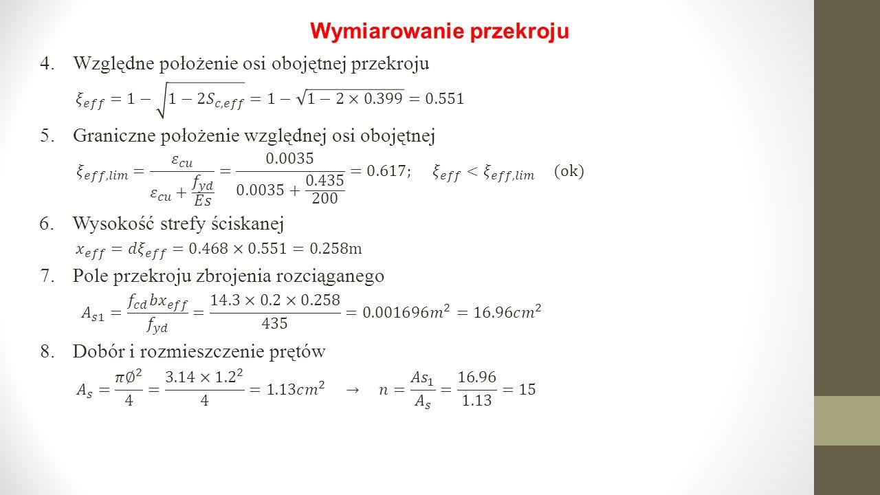Wymiarowanie przekroju 4.Względne położenie osi obojętnej przekroju 5.Graniczne położenie względnej osi obojętnej 6.Wysokość strefy ściskanej 8.Dobór