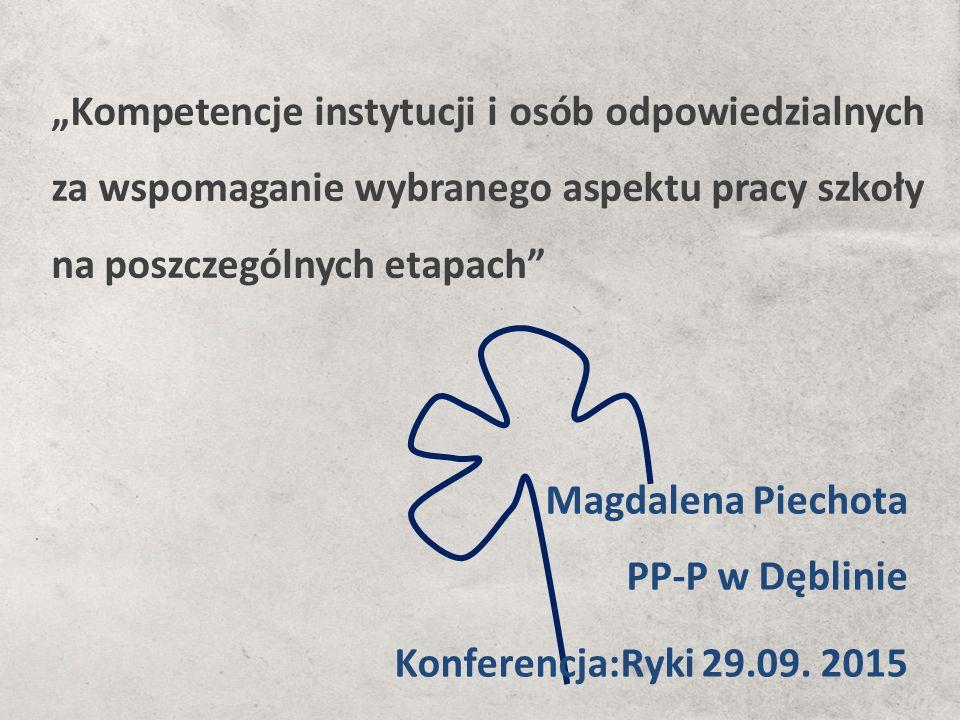 """""""Kompetencje instytucji i osób odpowiedzialnych za wspomaganie wybranego aspektu pracy szkoły na poszczególnych etapach Magdalena Piechota PP-P w Dęblinie Konferencja:Ryki 29.09."""