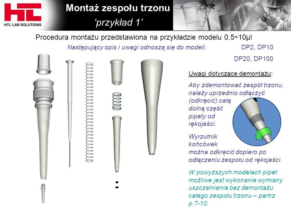 Uwagi dotyczące demontażu: Aby zdemontować zespół trzonu, należy uprzednio odłączyć (odkręcić) całą dolną część pipety od rękojeści. Wyrzutnik końcówe
