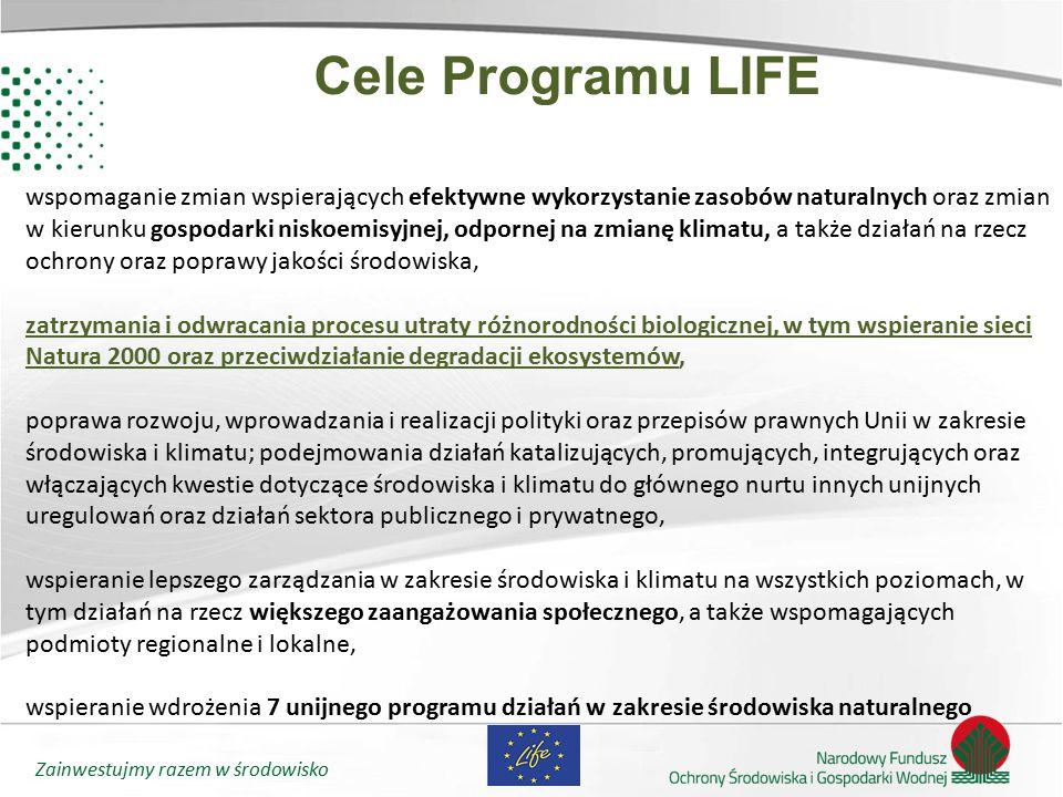 Zainwestujmy razem w środowisko Cele Programu LIFE wspomaganie zmian wspierających efektywne wykorzystanie zasobów naturalnych oraz zmian w kierunku g