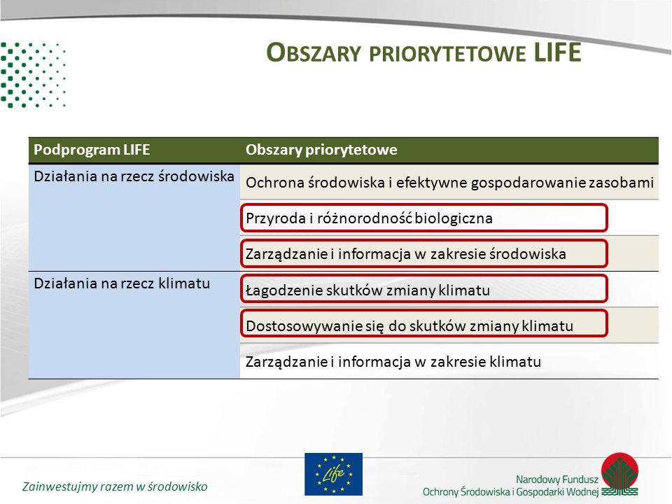 Zainwestujmy razem w środowisko O BSZARY PRIORYTETOWE LIFE Podprogram LIFEObszary priorytetowe Działania na rzecz środowiska Ochrona środowiska i efek