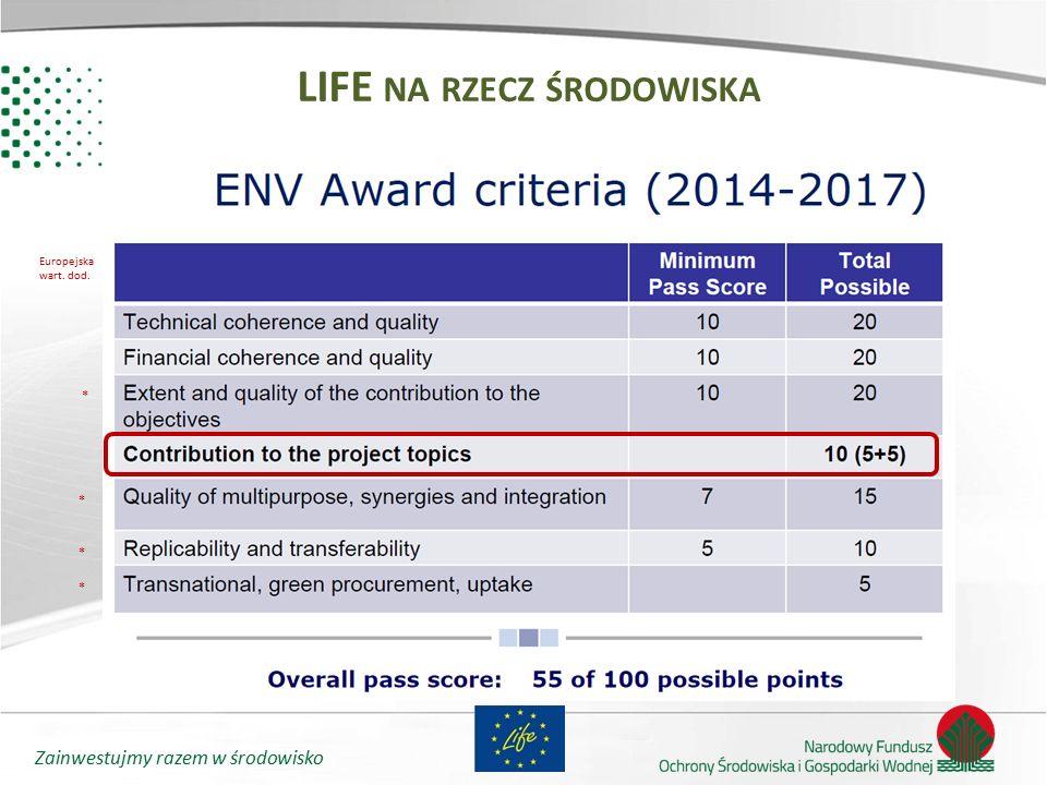 Zainwestujmy razem w środowisko LIFE NA RZECZ ŚRODOWISKA Europejska wart. dod. *