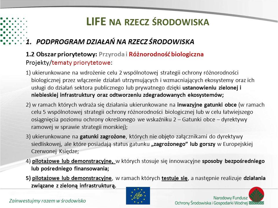 Zainwestujmy razem w środowisko LIFE NA RZECZ ŚRODOWISKA 1.PODPROGRAM DZIAŁAŃ NA RZECZ ŚRODOWISKA 1.2 Obszar priorytetowy: Przyroda i Różnorodność bio