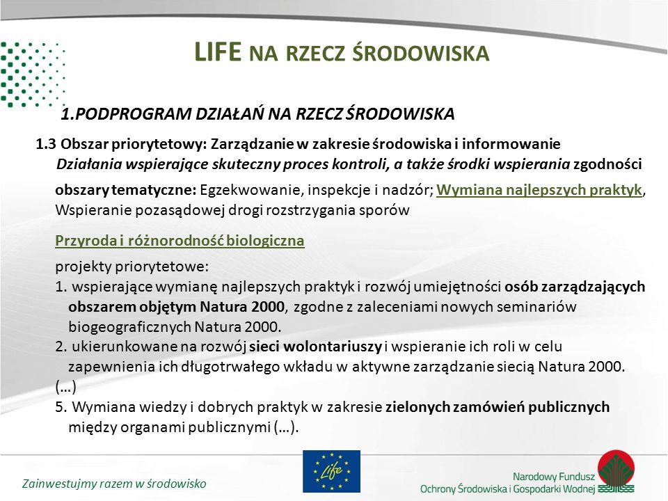 Zainwestujmy razem w środowisko LIFE NA RZECZ ŚRODOWISKA 1.PODPROGRAM DZIAŁAŃ NA RZECZ ŚRODOWISKA 1.3 Obszar priorytetowy: Zarządzanie w zakresie środ