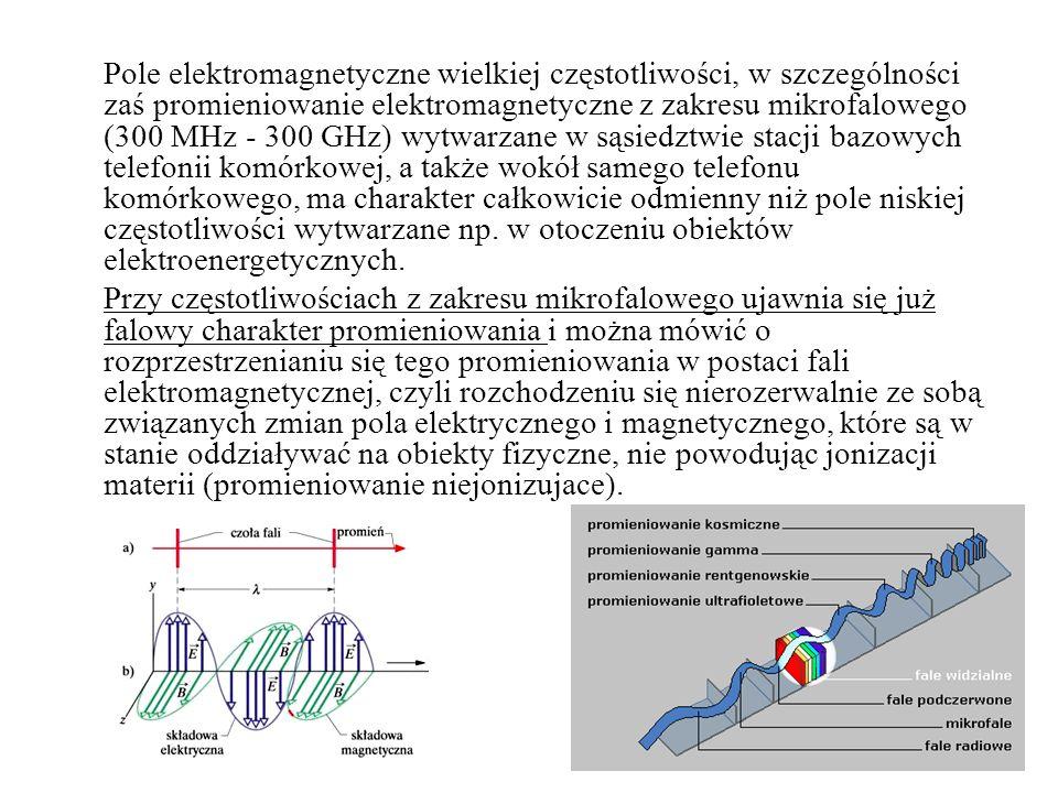 Pole elektromagnetyczne wielkiej częstotliwości, w szczególności zaś promieniowanie elektromagnetyczne z zakresu mikrofalowego (300 MHz - 300 GHz) wytwarzane w sąsiedztwie stacji bazowych telefonii komórkowej, a także wokół samego telefonu komórkowego, ma charakter całkowicie odmienny niż pole niskiej częstotliwości wytwarzane np.