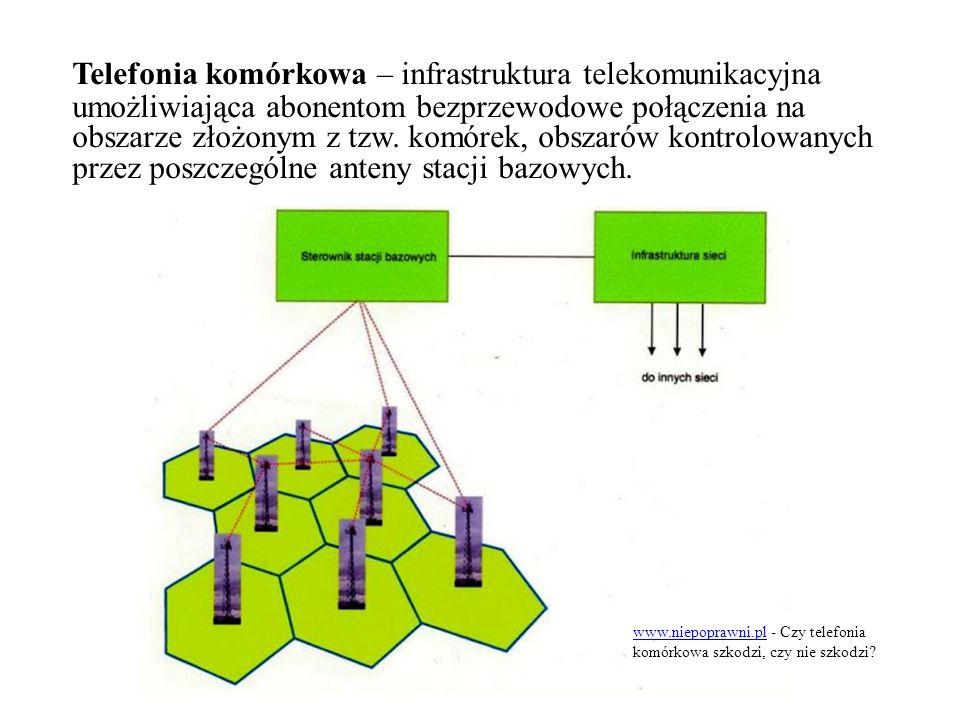 Telefonia komórkowa – infrastruktura telekomunikacyjna umożliwiająca abonentom bezprzewodowe połączenia na obszarze złożonym z tzw.