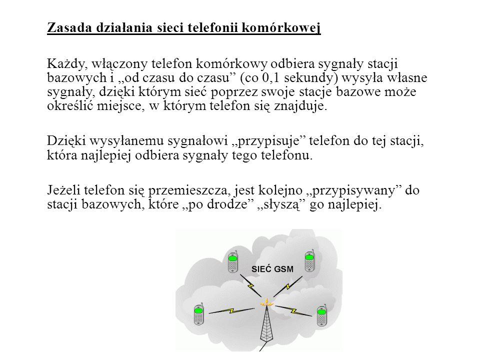 """Zasada działania sieci telefonii komórkowej Każdy, włączony telefon komórkowy odbiera sygnały stacji bazowych i """"od czasu do czasu (co 0,1 sekundy) wysyła własne sygnały, dzięki którym sieć poprzez swoje stacje bazowe może określić miejsce, w którym telefon się znajduje."""