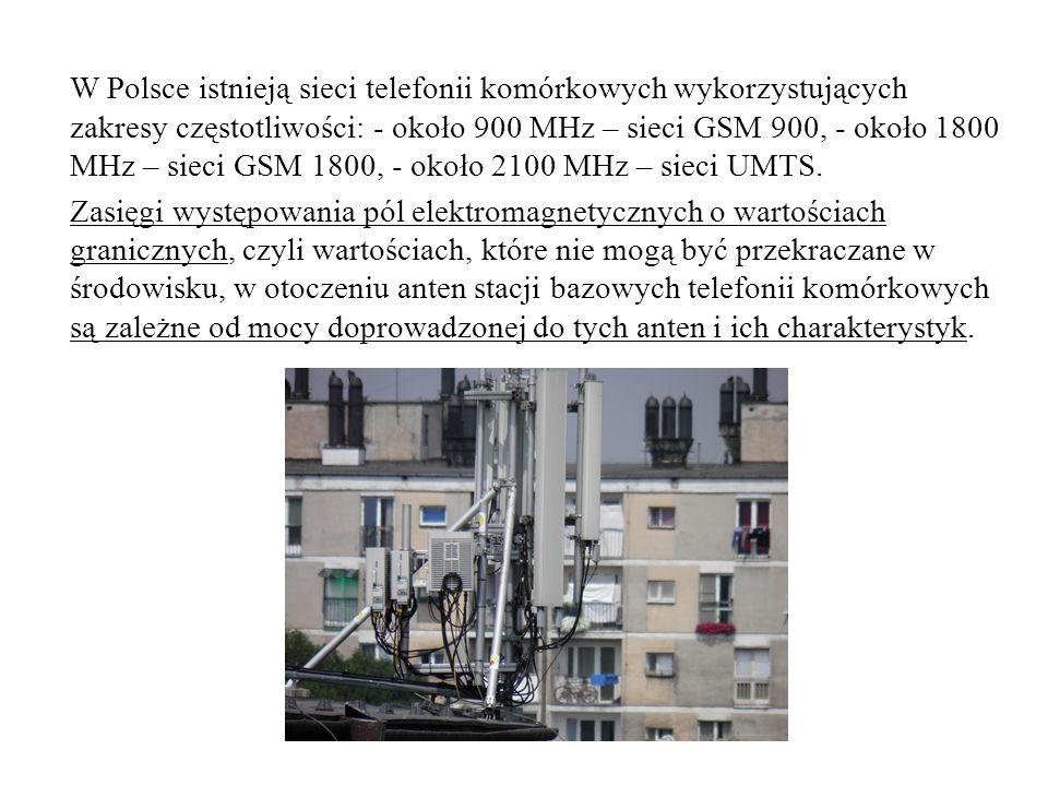 W Polsce istnieją sieci telefonii komórkowych wykorzystujących zakresy częstotliwości: - około 900 MHz – sieci GSM 900, - około 1800 MHz – sieci GSM 1800, - około 2100 MHz – sieci UMTS.