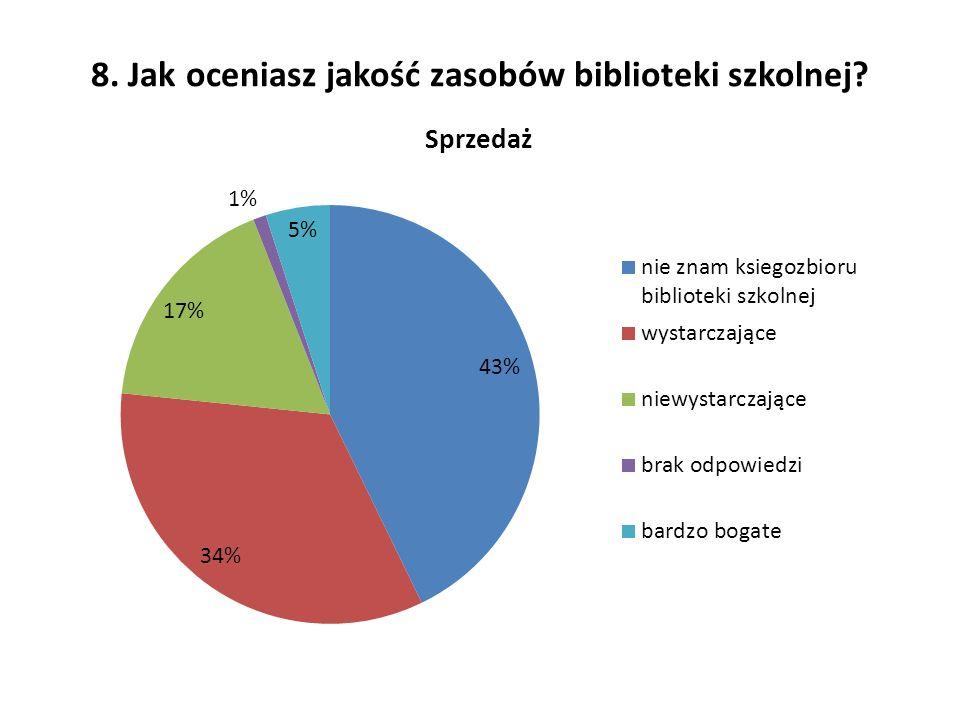 8. Jak oceniasz jakość zasobów biblioteki szkolnej?