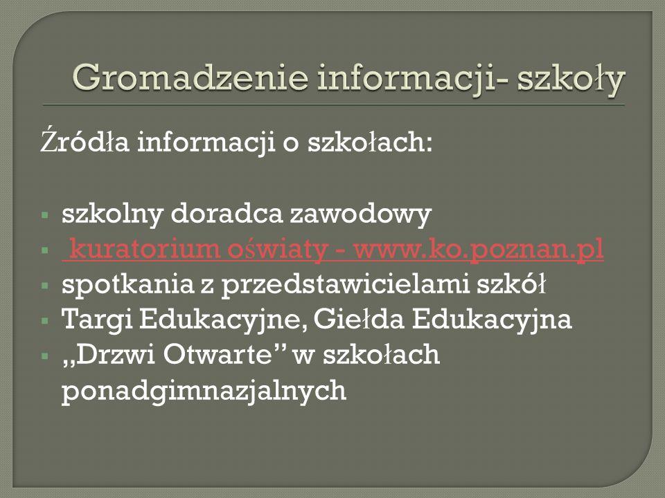 Ź ród ł a informacji o szko ł ach:  szkolny doradca zawodowy  kuratorium o ś wiaty - www.ko.poznan.pl kuratorium o ś wiaty - www.ko.poznan.pl  spot