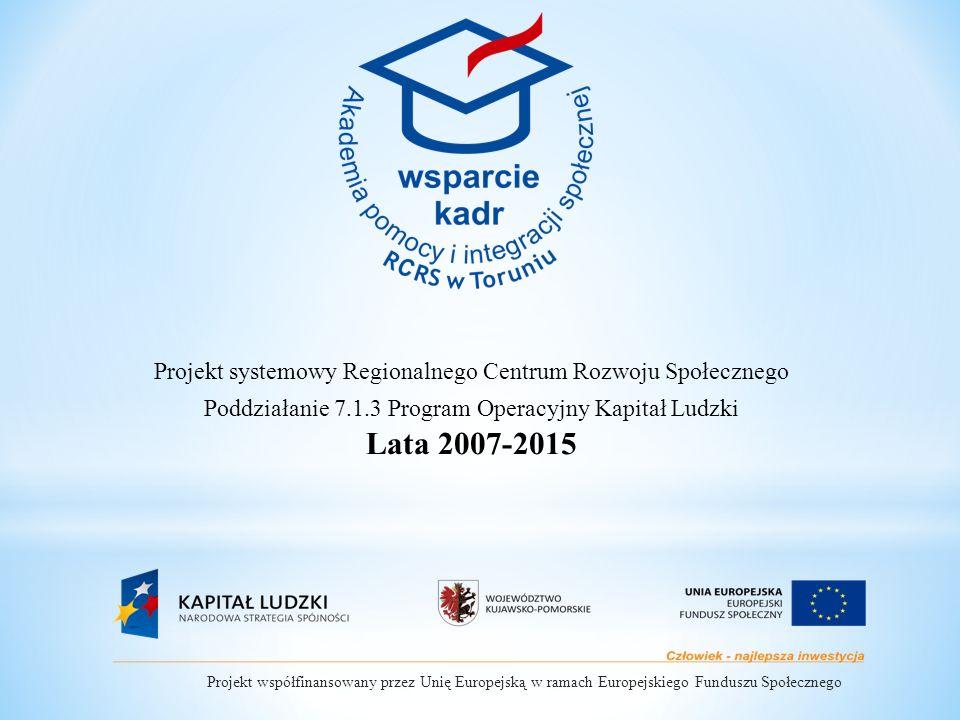 Projekt systemowy Regionalnego Centrum Rozwoju Społecznego Poddziałanie 7.1.3 Program Operacyjny Kapitał Ludzki Lata 2007-2015 Projekt współfinansowany przez Unię Europejską w ramach Europejskiego Funduszu Społecznego