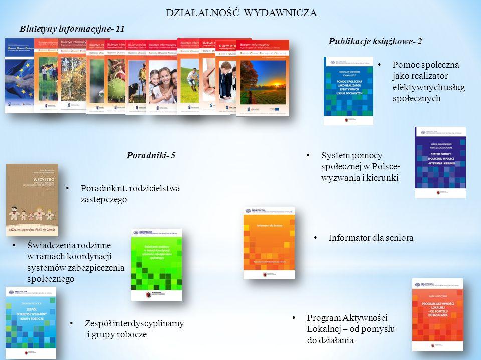 DZIAŁALNOŚĆ WYDAWNICZA Biuletyny informacyjne- 11 Poradniki- 5 Publikacje książkowe- 2 Poradnik nt.