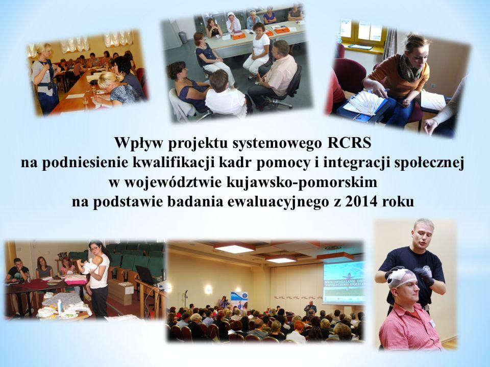 Wpływ projektu systemowego RCRS na podniesienie kwalifikacji kadr pomocy i integracji społecznej w województwie kujawsko-pomorskim na podstawie badania ewaluacyjnego z 2014 roku