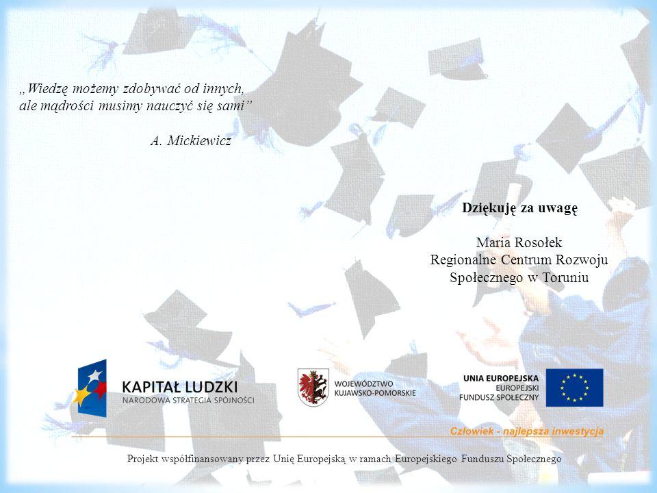 """Projekt współfinansowany przez Unię Europejską w ramach Europejskiego Funduszu Społecznego Dziękuję za uwagę Maria Rosołek Regionalne Centrum Rozwoju Społecznego w Toruniu """"Wiedzę możemy zdobywać od innych, ale mądrości musimy nauczyć się sami A."""