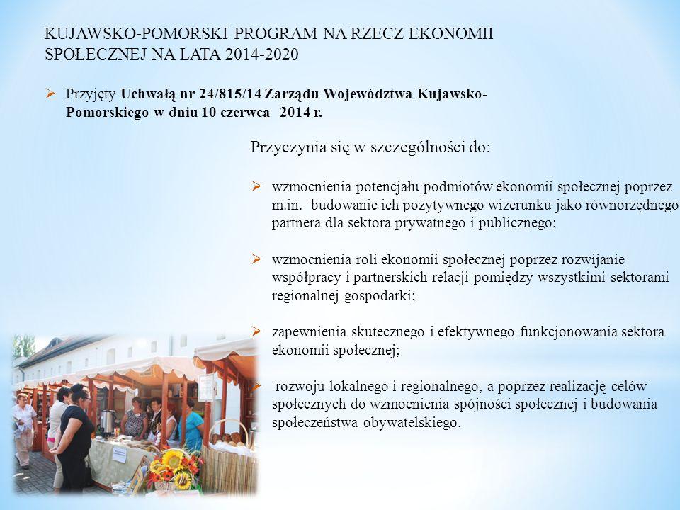 KUJAWSKO-POMORSKI PROGRAM NA RZECZ EKONOMII SPOŁECZNEJ NA LATA 2014-2020  Przyjęty Uchwałą nr 24/815/14 Zarządu Województwa Kujawsko- Pomorskiego w dniu 10 czerwca 2014 r.