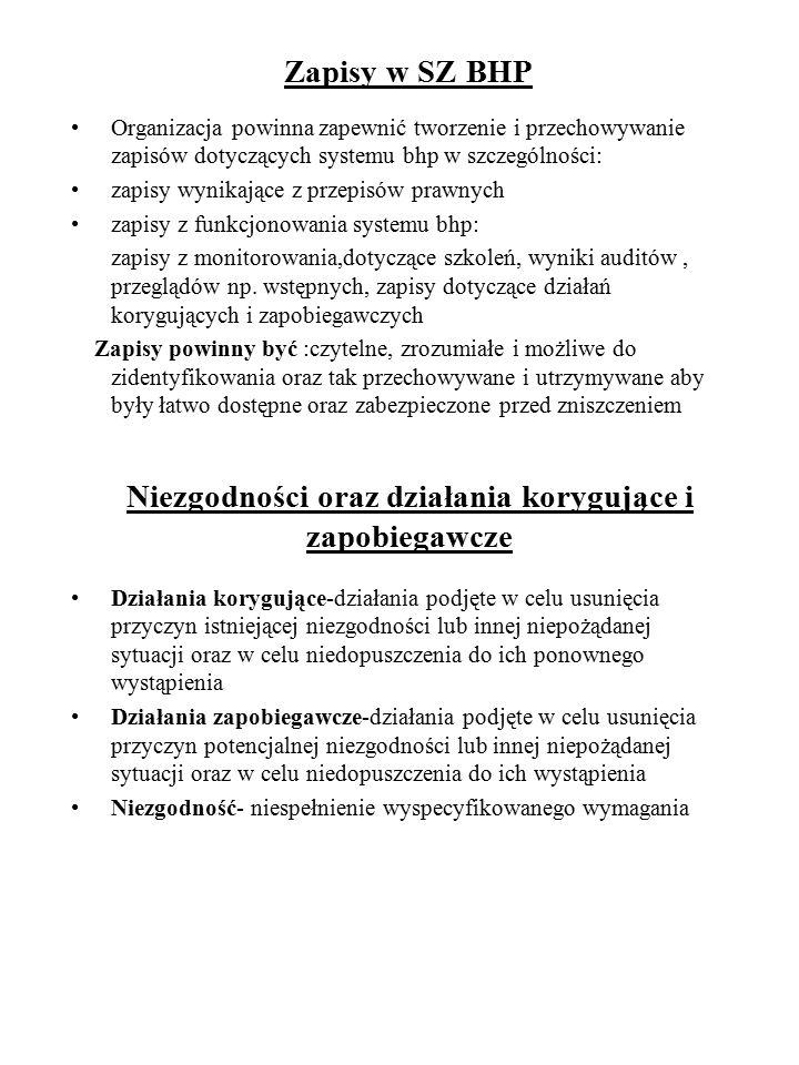 Zapisy w SZ BHP Organizacja powinna zapewnić tworzenie i przechowywanie zapisów dotyczących systemu bhp w szczególności: zapisy wynikające z przepisów