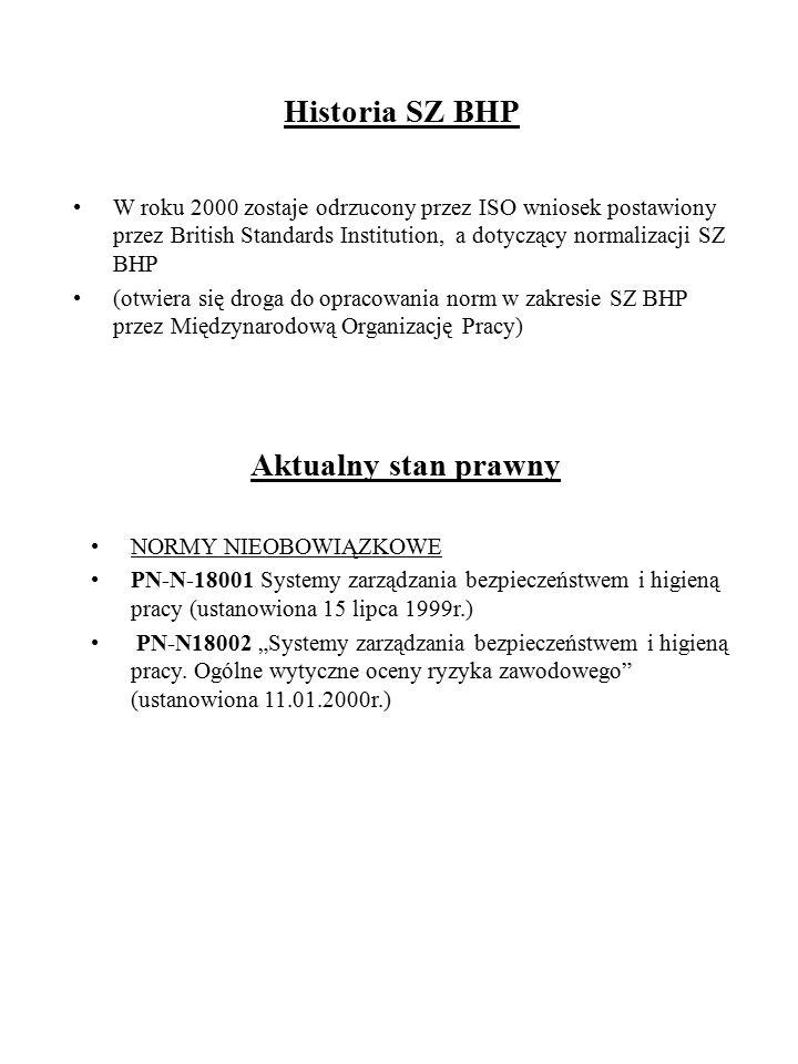 Historia SZ BHP W roku 2000 zostaje odrzucony przez ISO wniosek postawiony przez British Standards Institution, a dotyczący normalizacji SZ BHP (otwie