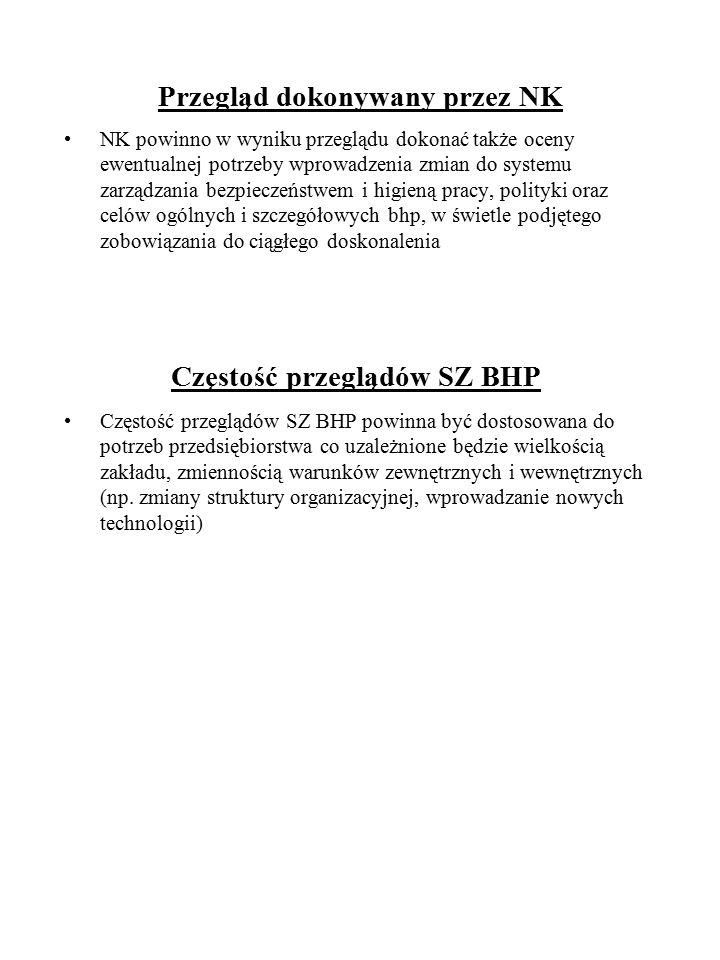 Przegląd dokonywany przez NK NK powinno w wyniku przeglądu dokonać także oceny ewentualnej potrzeby wprowadzenia zmian do systemu zarządzania bezpiecz