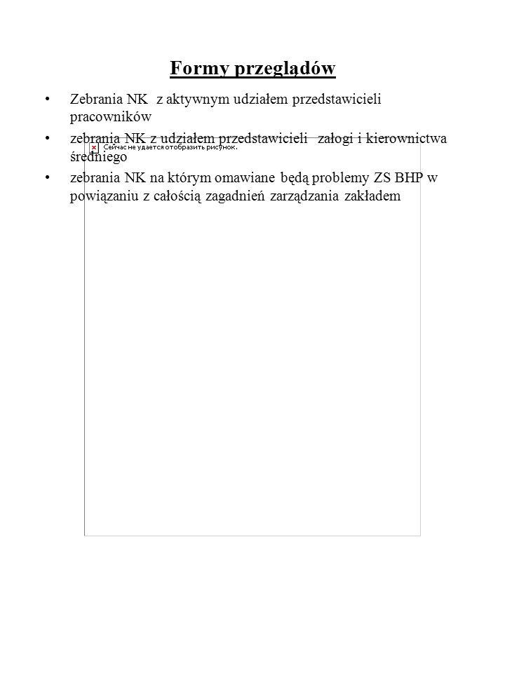 Formy przeglądów Zebrania NK z aktywnym udziałem przedstawicieli pracowników zebrania NK z udziałem przedstawicieli załogi i kierownictwa średniego ze