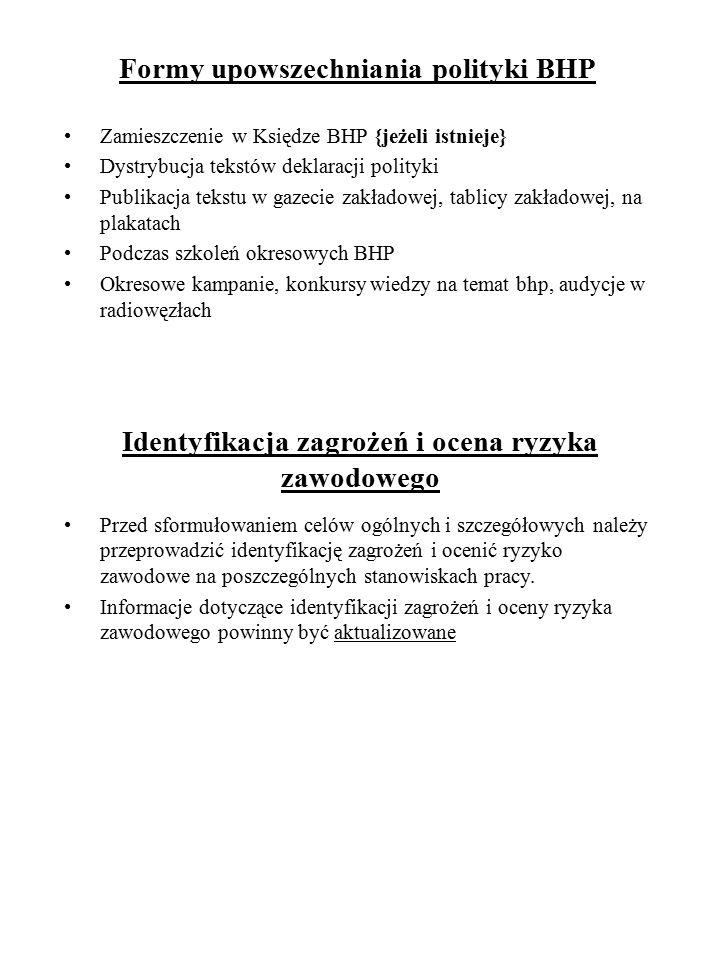 Formy upowszechniania polityki BHP Zamieszczenie w Księdze BHP {jeżeli istnieje} Dystrybucja tekstów deklaracji polityki Publikacja tekstu w gazecie z