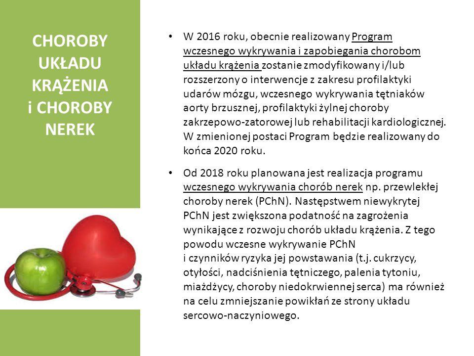 CHOROBY UKŁADU KRĄŻENIA i CHOROBY NEREK W 2016 roku, obecnie realizowany Program wczesnego wykrywania i zapobiegania chorobom układu krążenia zostanie
