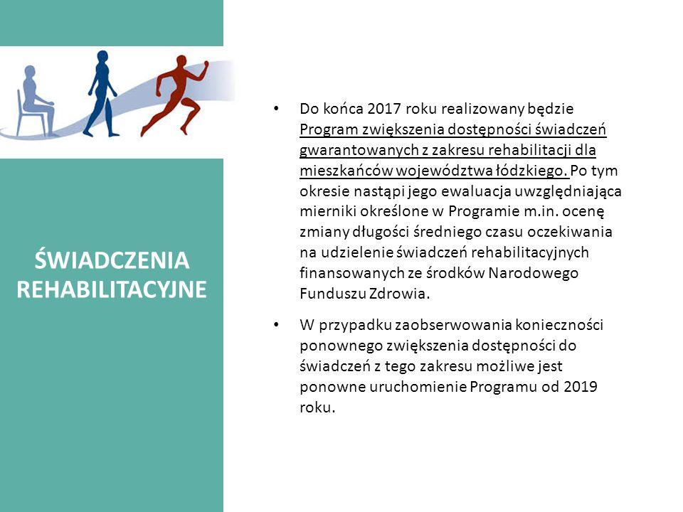 ŚWIADCZENIA REHABILITACYJNE Do końca 2017 roku realizowany będzie Program zwiększenia dostępności świadczeń gwarantowanych z zakresu rehabilitacji dla