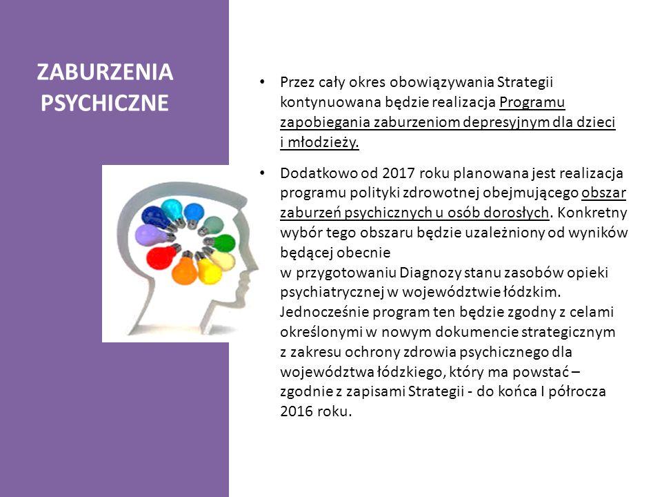 ZABURZENIA PSYCHICZNE Przez cały okres obowiązywania Strategii kontynuowana będzie realizacja Programu zapobiegania zaburzeniom depresyjnym dla dzieci