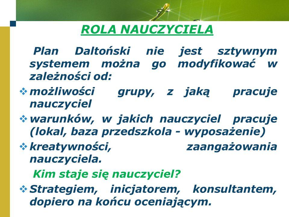 ROLA NAUCZYCIELA Plan Daltoński nie jest sztywnym systemem można go modyfikować w zależności od:  możliwości grupy, z jaką pracuje nauczyciel  warunków, w jakich nauczyciel pracuje (lokal, baza przedszkola - wyposażenie)  kreatywności, zaangażowania nauczyciela.