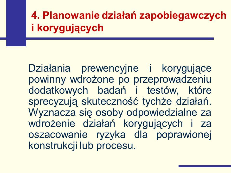4. Planowanie działań zapobiegawczych i korygujących Działania prewencyjne i korygujące powinny wdrożone po przeprowadzeniu dodatkowych badań i testów