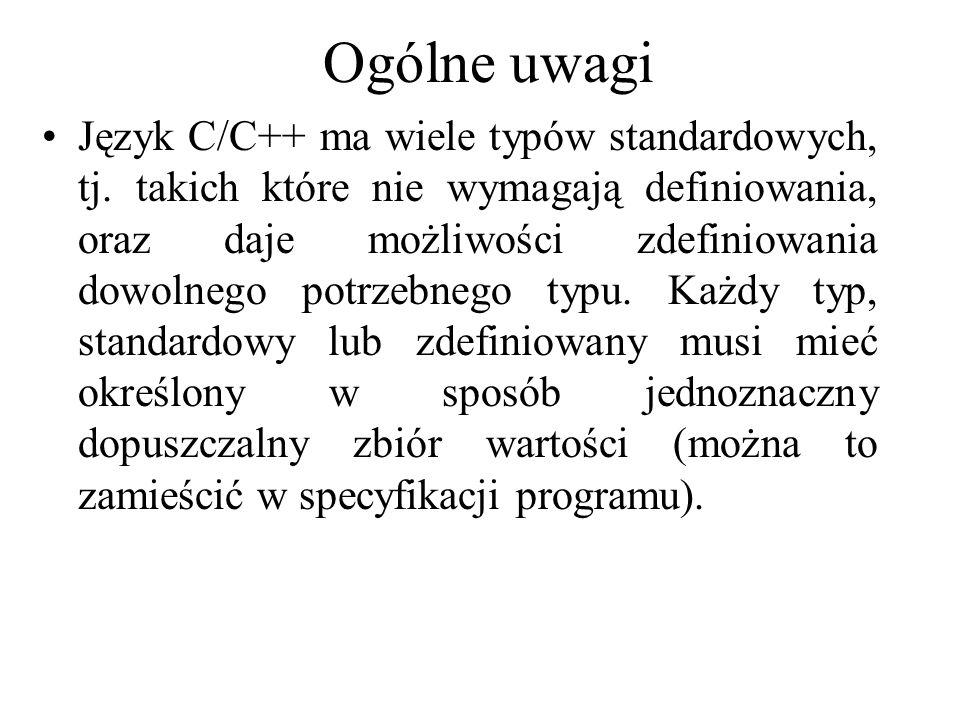 Ogólne uwagi Język C/C++ ma wiele typów standardowych, tj. takich które nie wymagają definiowania, oraz daje możliwości zdefiniowania dowolnego potrze