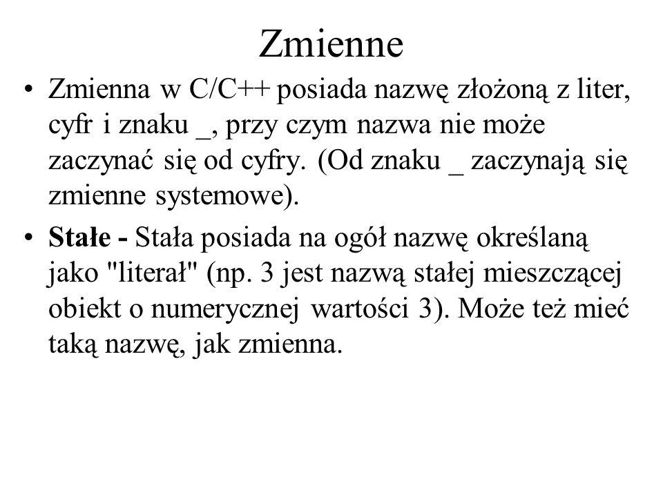 Zmienne Zmienna w C/C++ posiada nazwę złożoną z liter, cyfr i znaku _, przy czym nazwa nie może zaczynać się od cyfry. (Od znaku _ zaczynają się zmien
