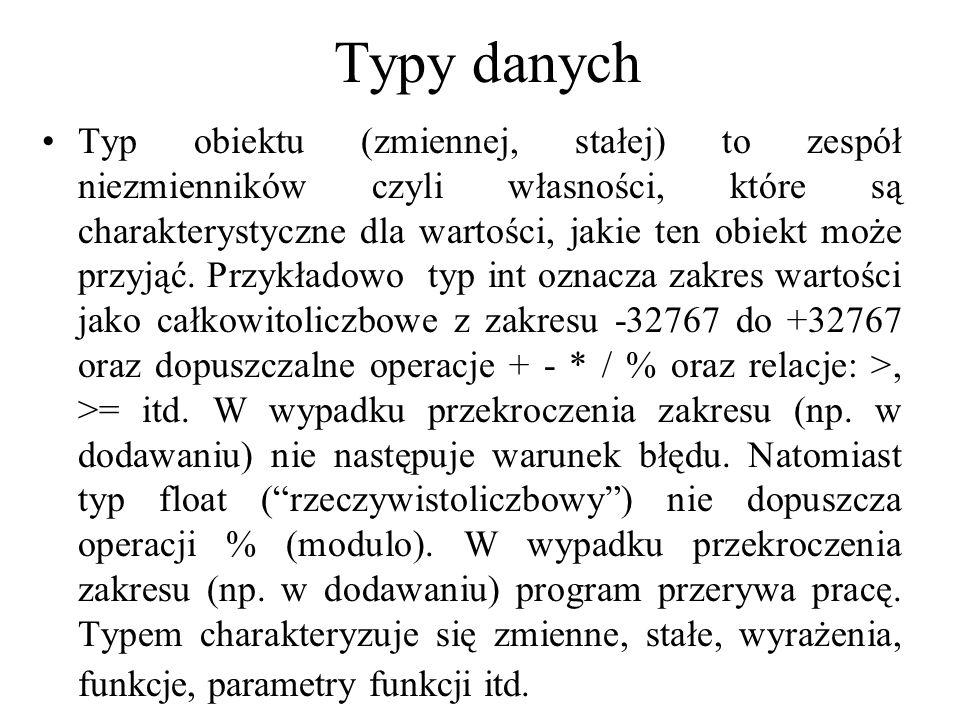Typy danych Typ obiektu (zmiennej, stałej) to zespół niezmienników czyli własności, które są charakterystyczne dla wartości, jakie ten obiekt może prz