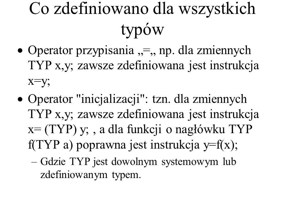 """Co zdefiniowano dla wszystkich typów  Operator przypisania """"="""" np. dla zmiennych TYP x,y; zawsze zdefiniowana jest instrukcja x=y;  Operator"""
