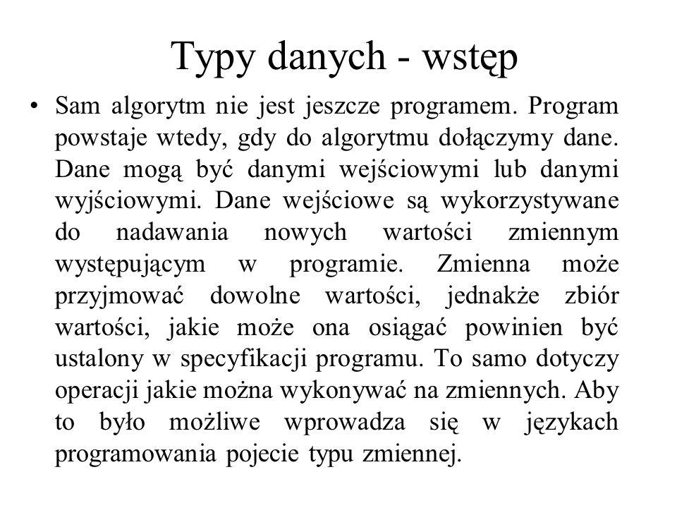 Typy danych - wstęp Sam algorytm nie jest jeszcze programem. Program powstaje wtedy, gdy do algorytmu dołączymy dane. Dane mogą być danymi wejściowymi
