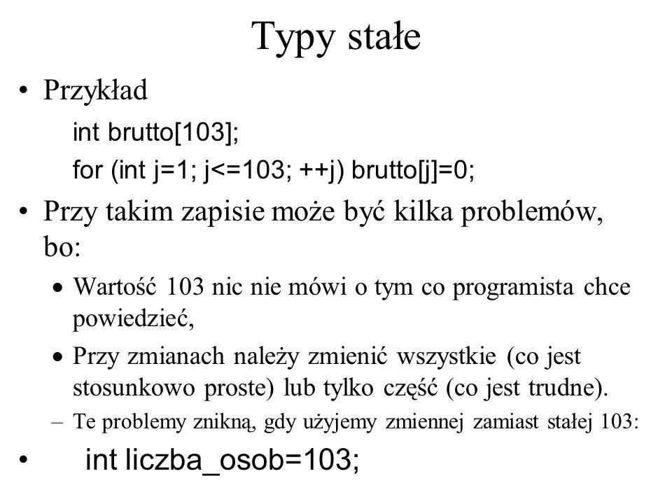 Typy stałe Przykład int brutto[103]; for (int j=1; j<=103; ++j) brutto[j]=0; Przy takim zapisie może być kilka problemów, bo:  Wartość 103 nic nie mó