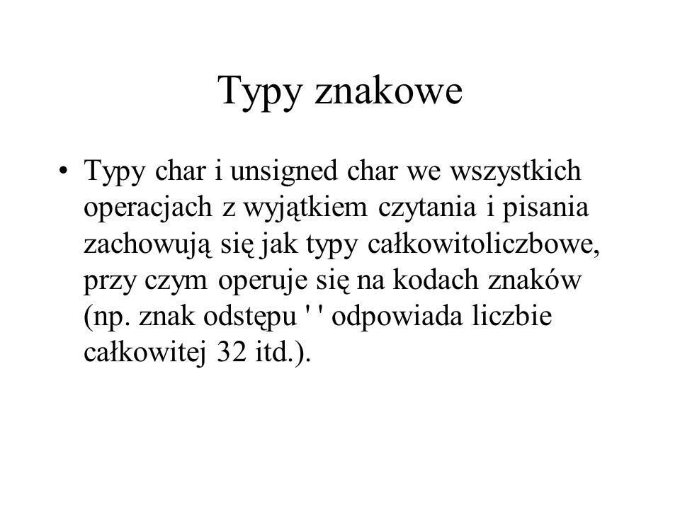 Typy znakowe Typy char i unsigned char we wszystkich operacjach z wyjątkiem czytania i pisania zachowują się jak typy całkowitoliczbowe, przy czym ope
