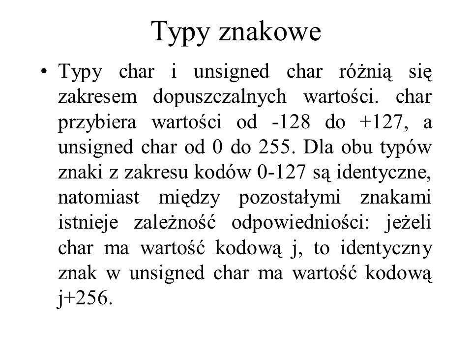Typy znakowe Typy char i unsigned char różnią się zakresem dopuszczalnych wartości. char przybiera wartości od -128 do +127, a unsigned char od 0 do 2