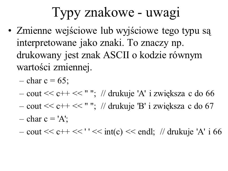 Typy znakowe - uwagi Zmienne wejściowe lub wyjściowe tego typu są interpretowane jako znaki. To znaczy np. drukowany jest znak ASCII o kodzie równym w