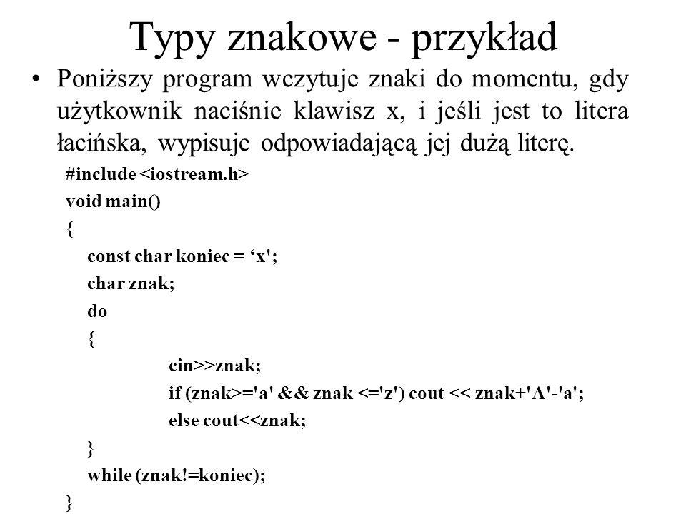 Typy znakowe - przykład Poniższy program wczytuje znaki do momentu, gdy użytkownik naciśnie klawisz x, i jeśli jest to litera łacińska, wypisuje odpow