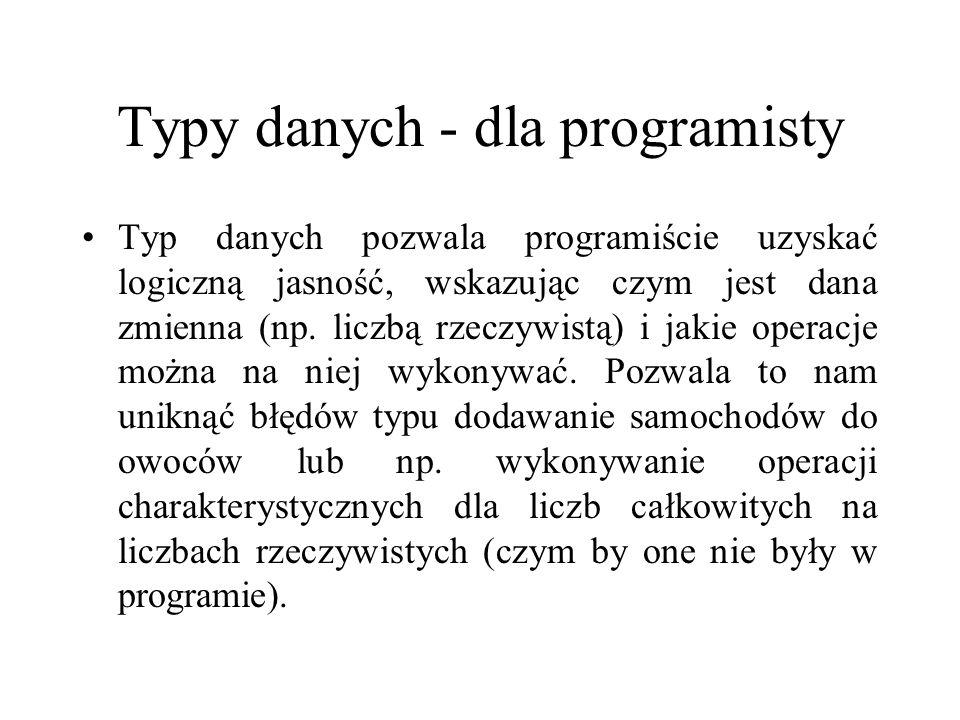 Typy danych - dla programisty Typ danych pozwala programiście uzyskać logiczną jasność, wskazując czym jest dana zmienna (np. liczbą rzeczywistą) i ja