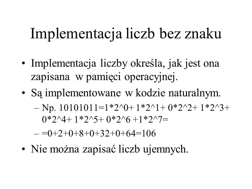 Implementacja liczb bez znaku Implementacja liczby określa, jak jest ona zapisana w pamięci operacyjnej. Są implementowane w kodzie naturalnym. –Np. 1