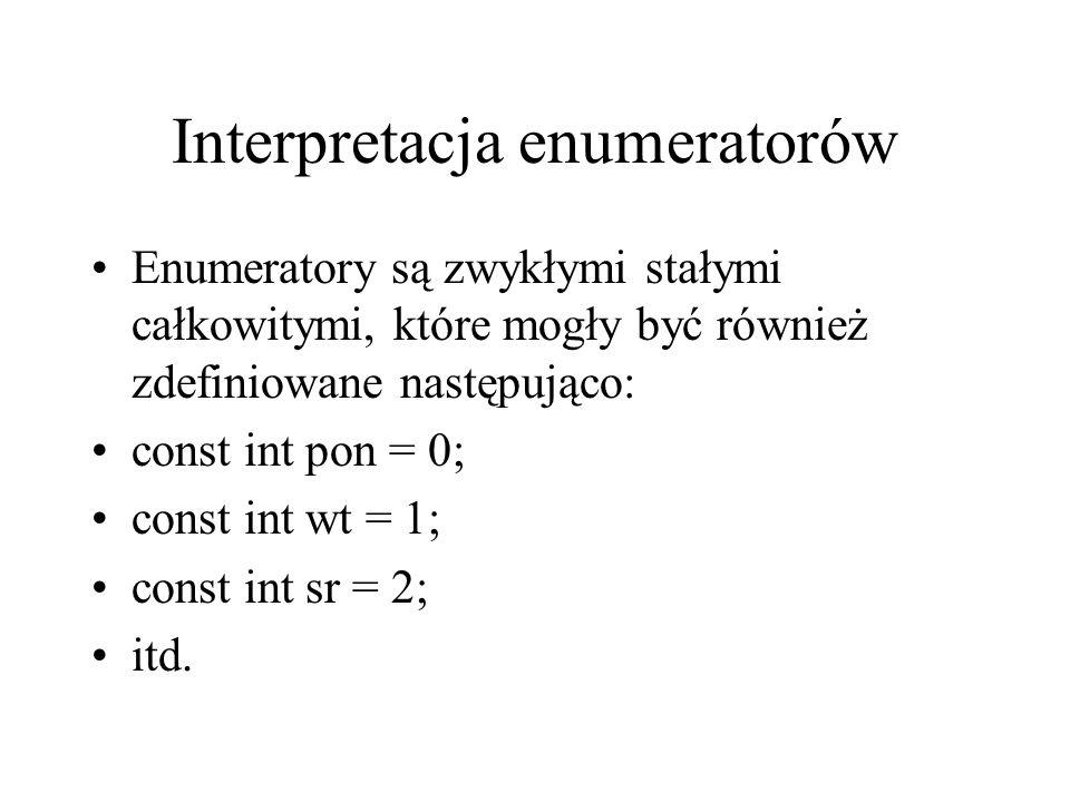 Interpretacja enumeratorów Enumeratory są zwykłymi stałymi całkowitymi, które mogły być również zdefiniowane następująco: const int pon = 0; const int