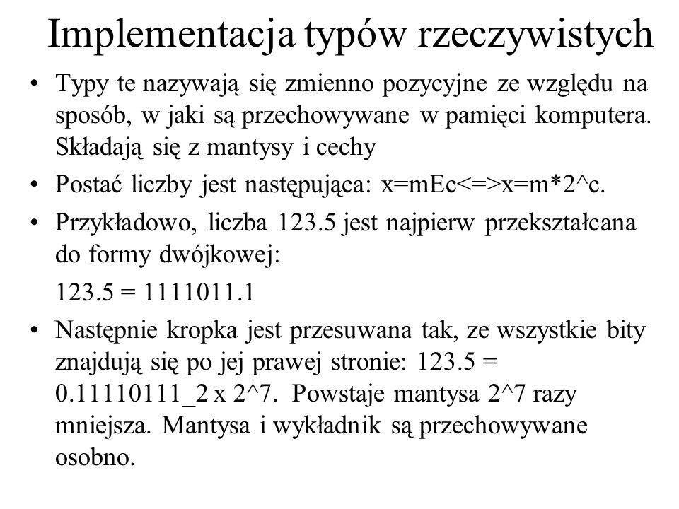 Implementacja typów rzeczywistych Typy te nazywają się zmienno pozycyjne ze względu na sposób, w jaki są przechowywane w pamięci komputera. Składają s