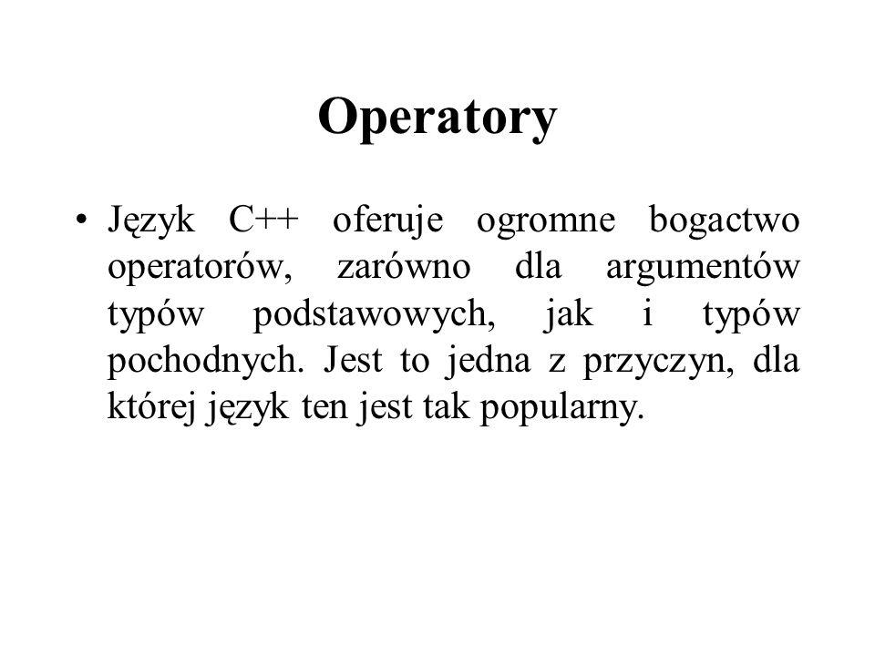 Operatory Język C++ oferuje ogromne bogactwo operatorów, zarówno dla argumentów typów podstawowych, jak i typów pochodnych. Jest to jedna z przyczyn,