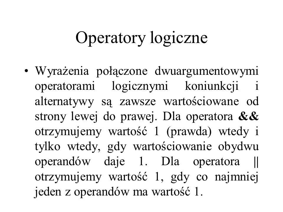 Operatory logiczne Wyrażenia połączone dwuargumentowymi operatorami logicznymi koniunkcji i alternatywy są zawsze wartościowane od strony lewej do pra