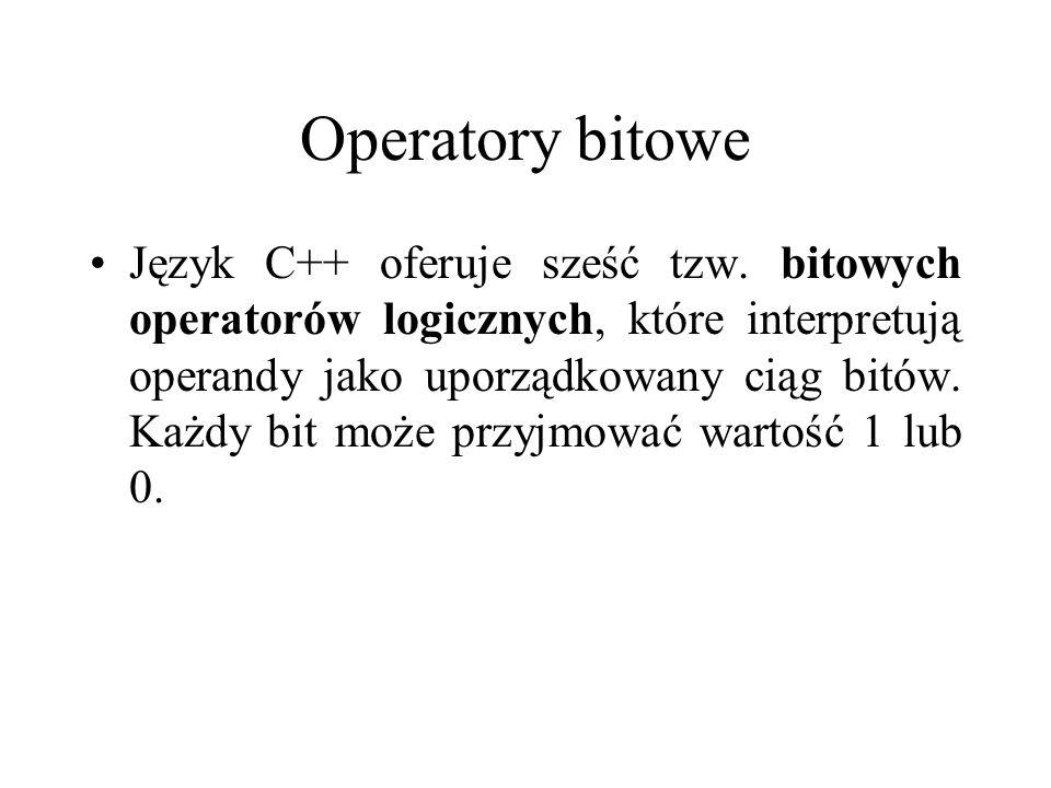 Operatory bitowe Język C++ oferuje sześć tzw. bitowych operatorów logicznych, które interpretują operandy jako uporządkowany ciąg bitów. Każdy bit moż