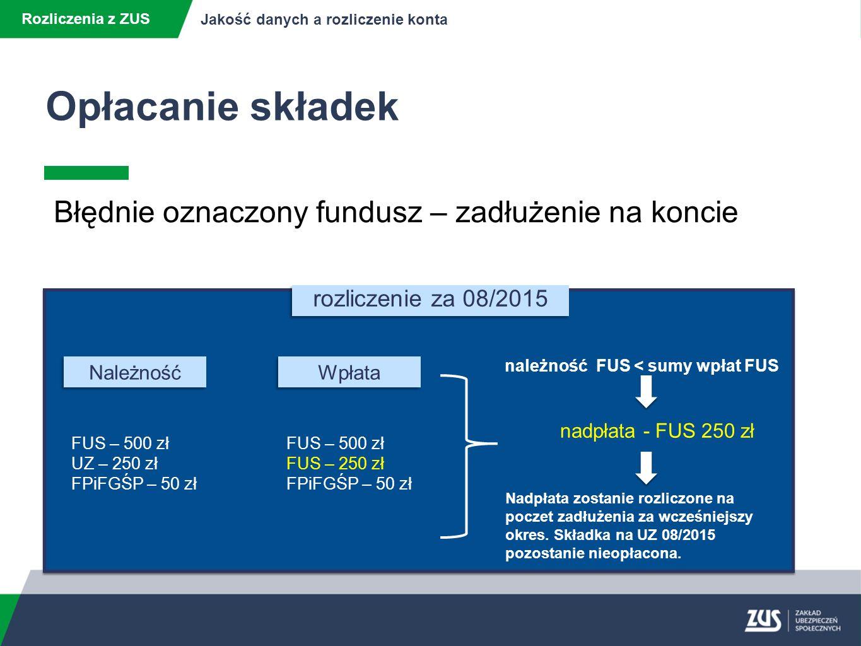 Rozliczenia z ZUS Jakość danych a rozliczenie konta Błędnie oznaczony fundusz – zadłużenie na koncie rozliczenie za 08/2015 FUS – 500 zł UZ – 250 zł FPiFGŚP – 50 zł Należność Wpłata FUS – 500 zł FUS – 250 zł FPiFGŚP – 50 zł należność FUS < sumy wpłat FUS Nadpłata zostanie rozliczone na poczet zadłużenia za wcześniejszy okres.